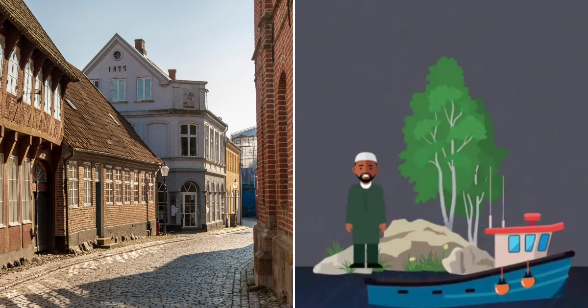 Streets of Denmark, left, and a Denmark commercial, right.