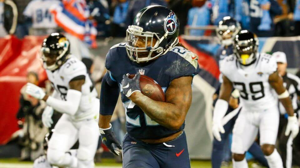 Derrick Henry of the Tennessee Titans takes off on a 99-yard touchdown run against the Jacksonville Jaguars at Nissan Stadium on Thursday night.