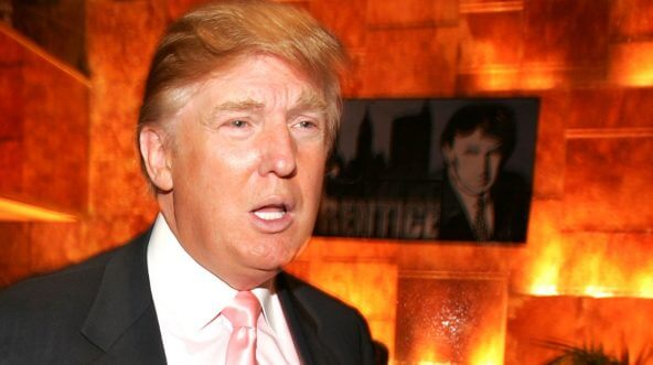 """Donald Trump talks about NBC's """"The Apprentice"""" in 2005 at Trump Tower in New York."""