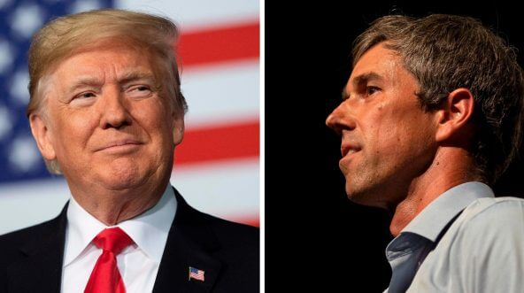 Left: President Donald Trump. Right: Texas Democratic Rep. Beto O'Rourke.