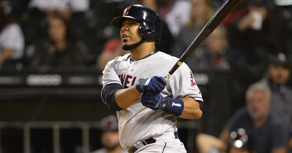 Edwin Encarnacion bats for the Cleveland Indians against the Chicago White Sox on Sept. 25 at Guaranteed Rate Field.