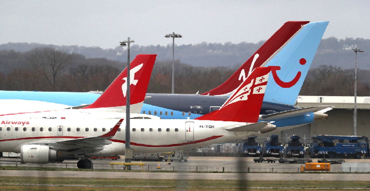 Planes are parked Thursday at England's Gatwick Airport, about 30 miles south of London.
