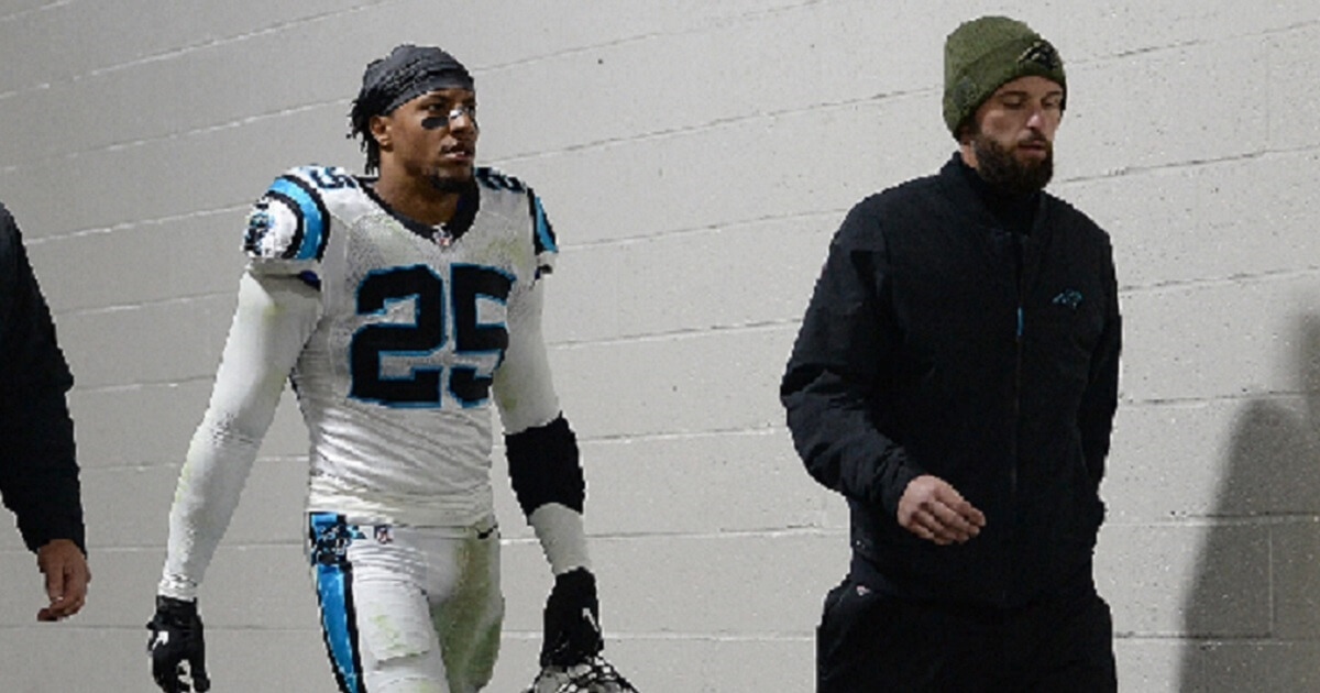 Carolina Panthers safety Eric Reid heads for the locker room after being ejected in the third quarter of a game against the PIttsburgh Steelers on Nov. 8.