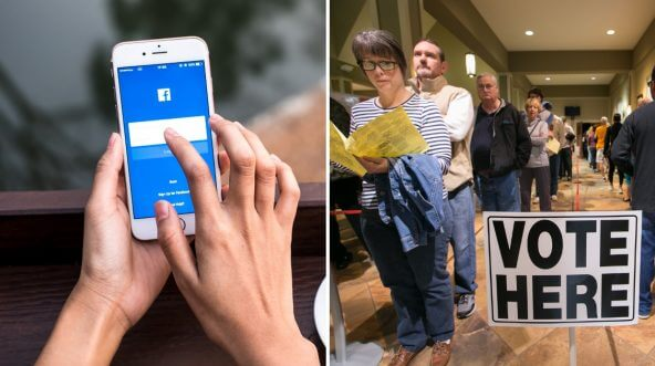 Facebook on a phone, left, and a line of voters, right.