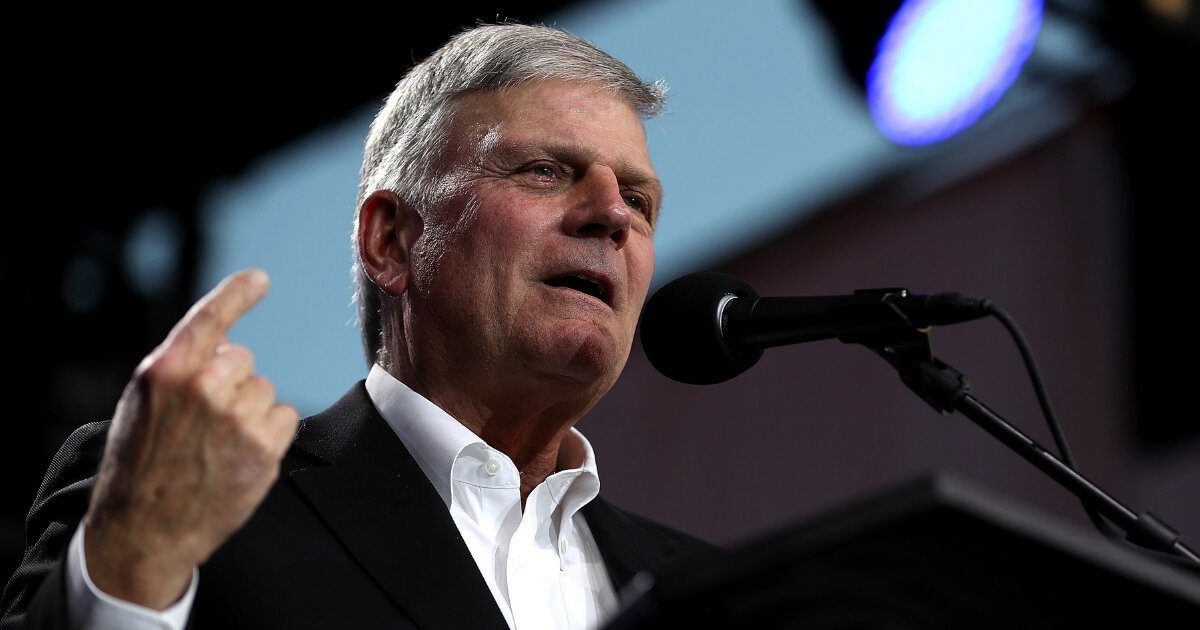 The Rev. Franklin Graham speaks May 29 at the Stanislaus County Fairgrounds in Turlock, California.