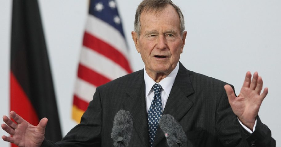 Former President George H.W. Bush attends the opening of the new U.S. Embassy in Berlin in 2008.