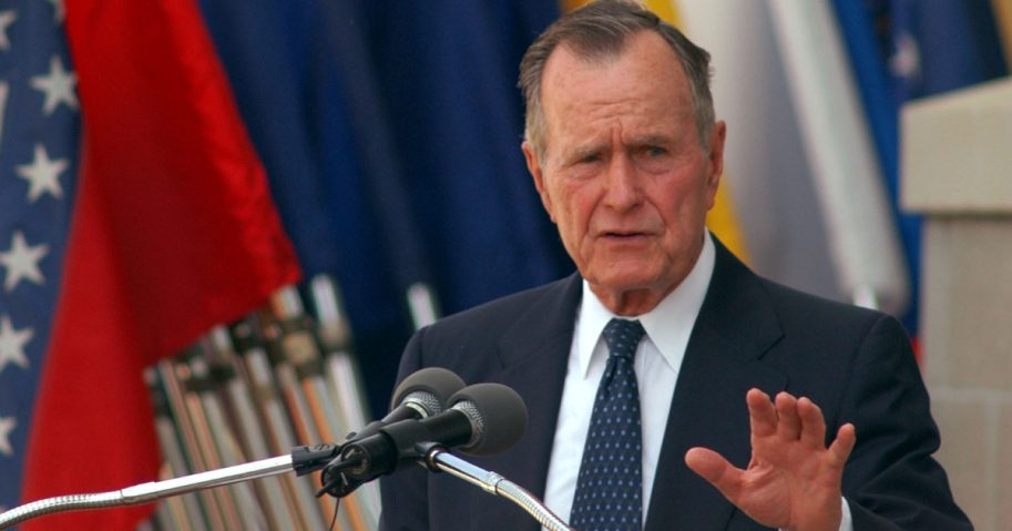 Former President George H.W. Bush during a 2004 speech at Fort Bragg, North Carolina.