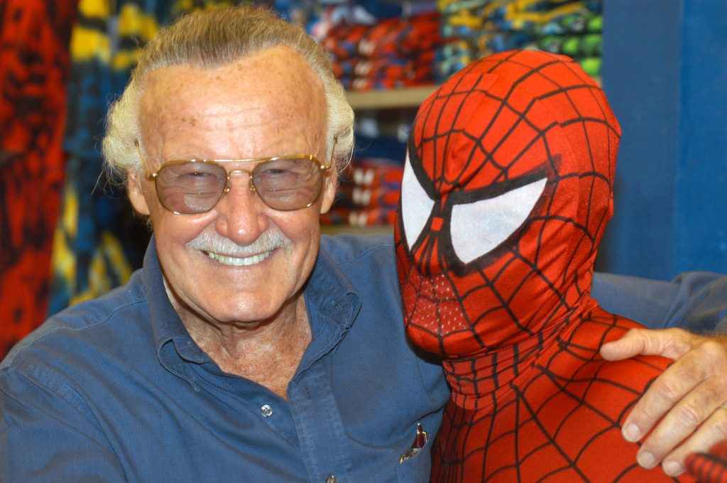 Creator Stan Lee poses with Spider-Man during the Spider-Man 40th Birthday celebration at Universal Studios on August 13, 2002 in Universal City, California.