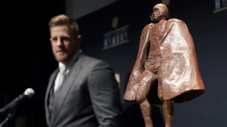 J. J. Watt poses in the press room with the Walter Payton 2017 NFL Man of the Year award at the 7th Annual NFL Honors in Minneapolis.