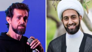 Twitter CEO Jack Dorsey, left, and Imam Mohammad Tawhidi.