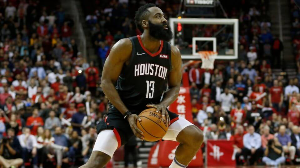 James Harden of the Houston Rockets pulls up to take a 3-point shot against the Utah Jazz on Monday at Toyota Center.