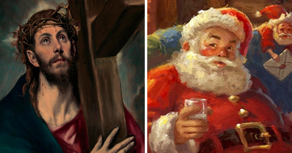 """Left: """"Christ Carrying the Cross,"""" 1580, by El Greco. Right: Detail from """"Santa's Workshop"""" by Thomas Kinkade."""