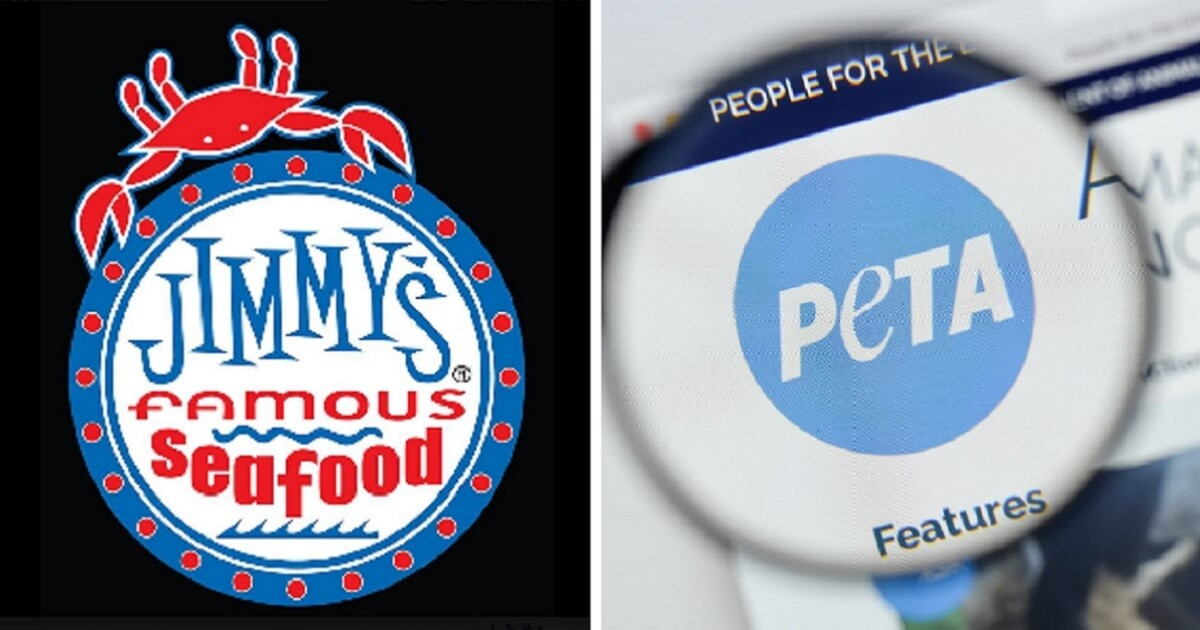 Jimmy's Famous Seafood logo, left; and a screen shot from PETA's web page, right.