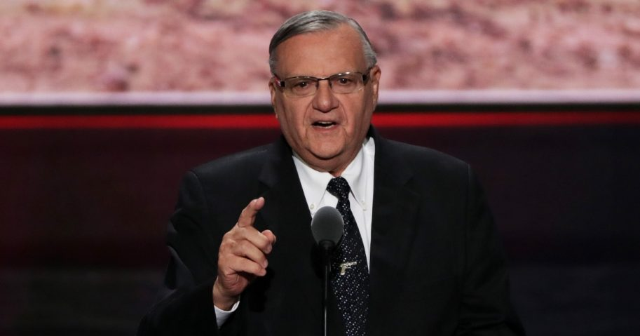 Joe Arpaio gives a speech at the Republican National Convention on July 21, 2016.