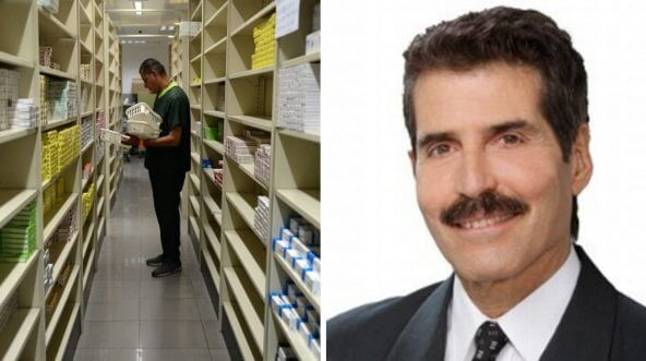 Empty shelves in stores and pharmacies alongside an image of John Stossel .