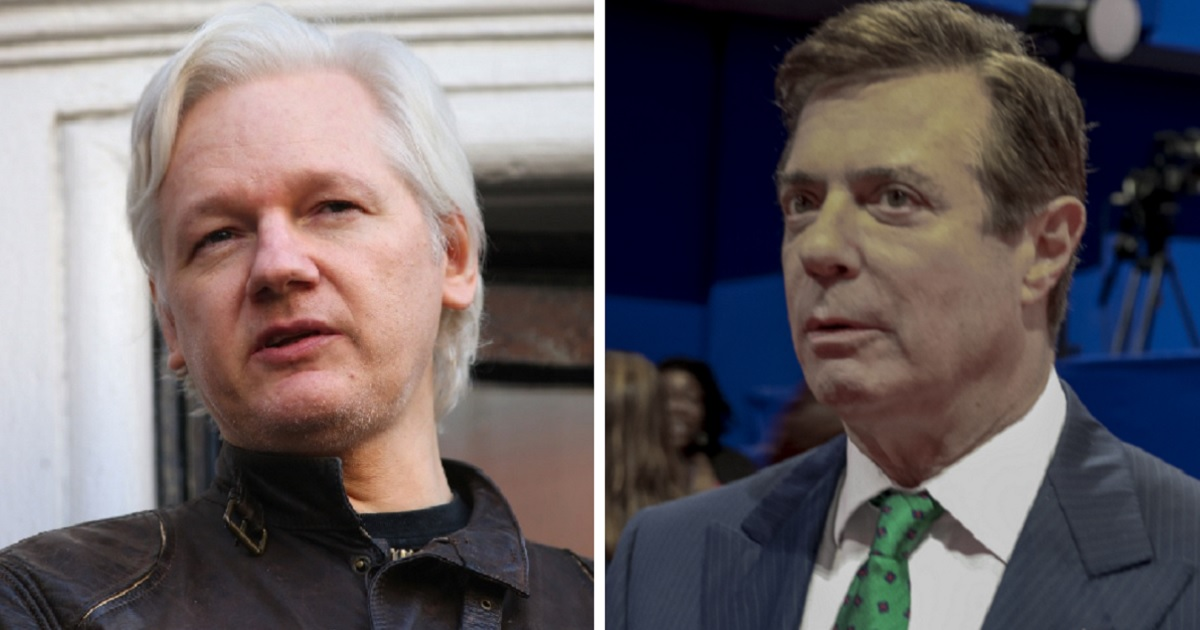 WikiLeaks founder Julian Assange, left; and one-time Donald Trump campaign chairman Paul Manafort, right.