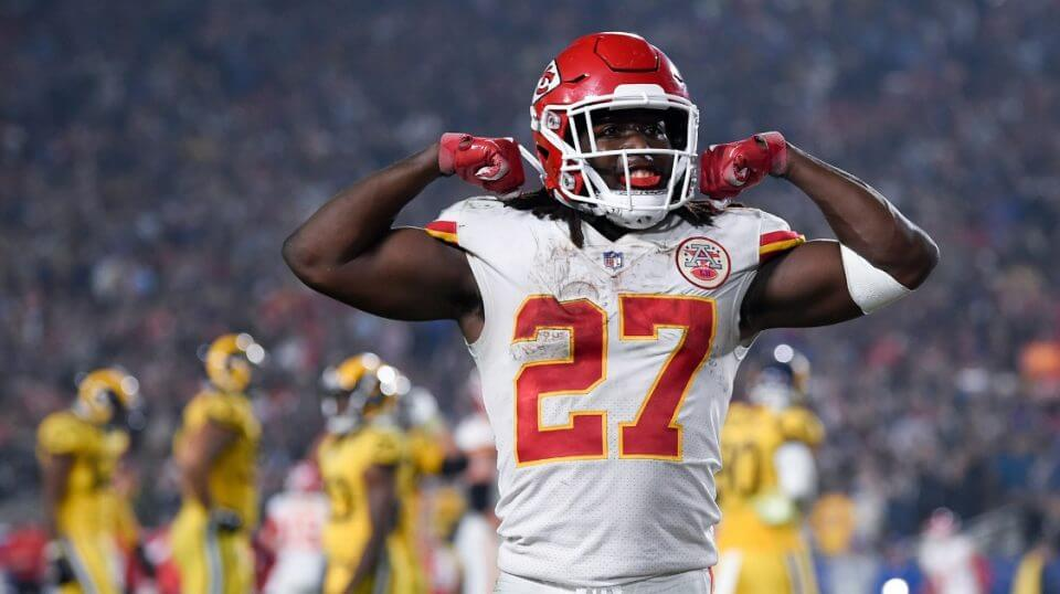 Chiefs running back Kareem Hunt celebrates after scoring a touchdown against the Los Angeles Rams