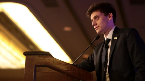 Kyle Kashuv speaking with attendees at the 2018 Young Women's Leadership Summit hosted by Turning Point USA at the Hyatt Regency DFW Hotel in Dallas, Texas, on June 16, 2018.