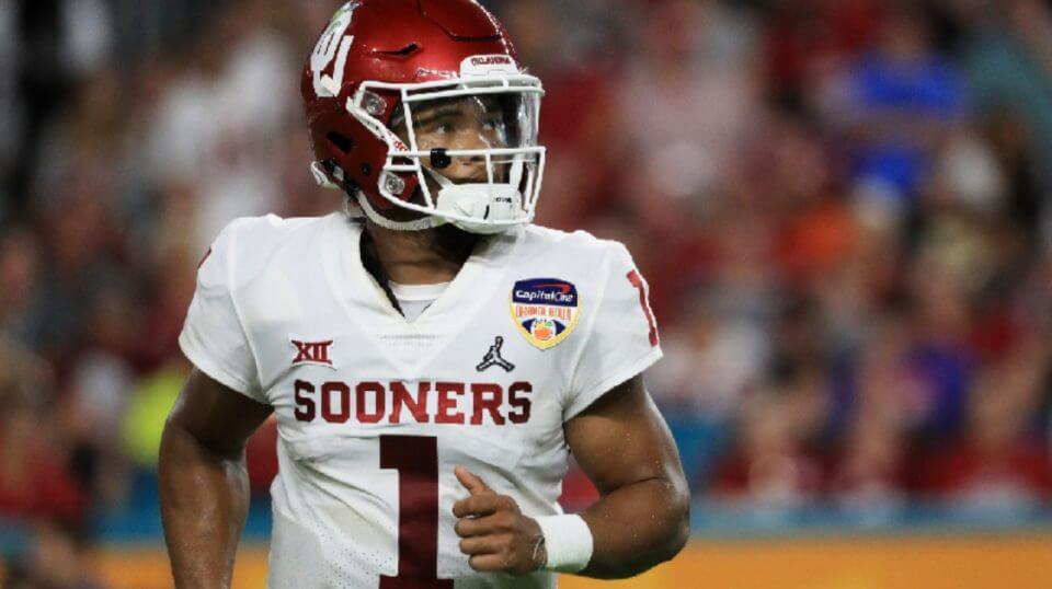 Kyler Murray of the Oklahoma Sooners looks on in the in the third quarter during the College Football Playoff Semifinal against the Alabama Crimson Tide at the Capital One Orange Bowl at Hard Rock Stadium on Saturday in Miami, Florida.