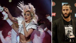 Lady Gaga performs during halftime of the NFL Super Bowl 51 and Colin Kaepernick
