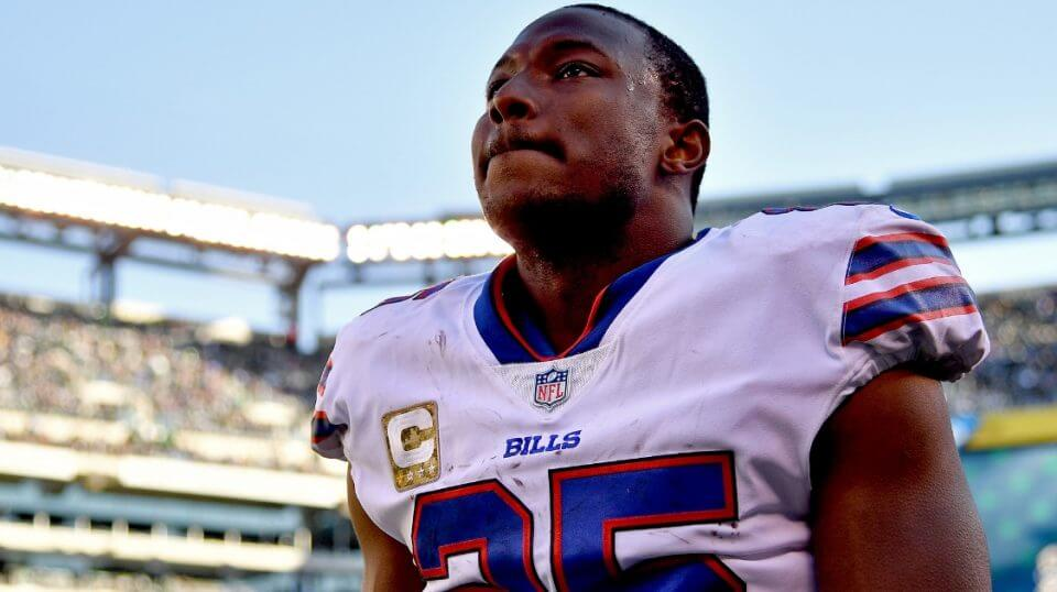 LeSean McCoy of the Buffalo Bills looks on from the sideline during the second quarter against the New York Jets at MetLife Stadium on Nov. 11, 2018 in East Rutherford, New Jersey.
