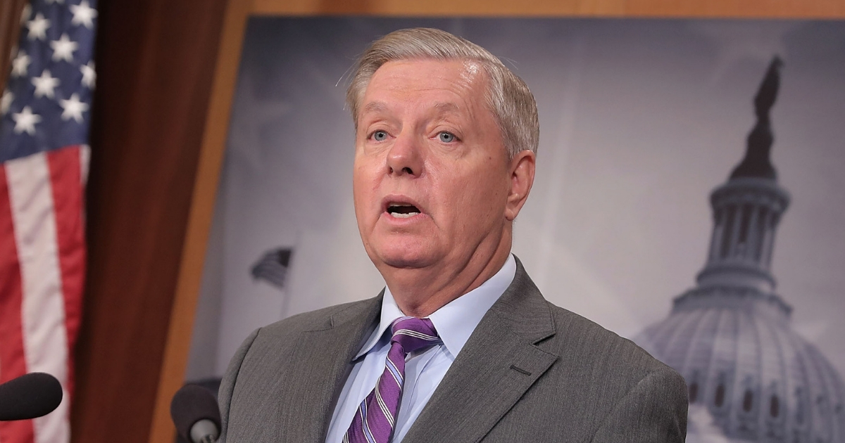Sen. Lindsey Graham (R-S.C.) talks to reporters about the suspect in a vehicle attack in Manhattan during a news conference at the U.S. Capitol Nov. 1, 2017, in Washington, D.C.