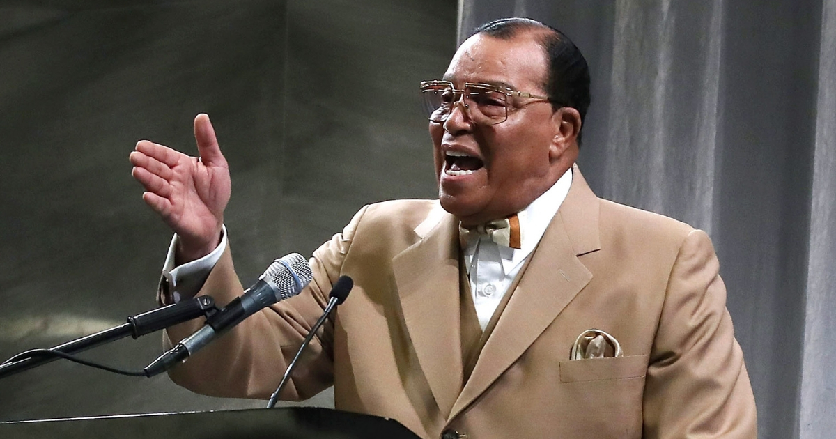Nation of Islam minister Louis Farrakhan delivers a speech in Washington on Nov. 16, 2017.