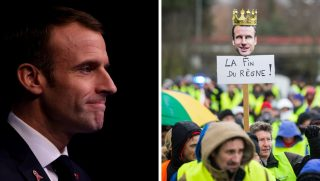 "French President Emmanuel Macron, left, is facing strong anti-government demonstrations from the yellow vest protesters, right, shown carrying a placard that reads ""The end of the reign"" with Macron's head on top of it Saturday in Annecy."