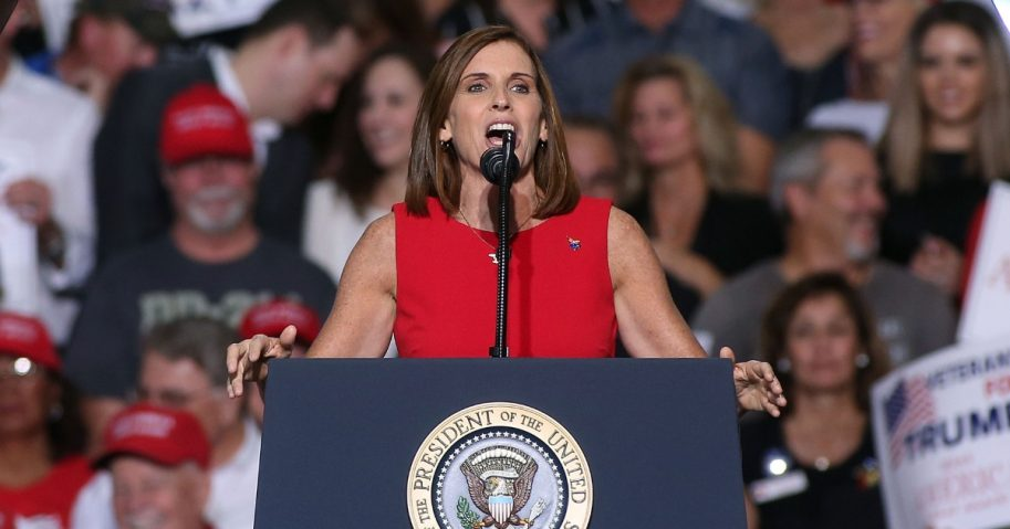U.S. Senate candidate Martha McSally, R-Ariz, speaks during a rally for President Donald Trump at the International Air Response facility on Oct. 19, 2018, in Mesa, Arizona.