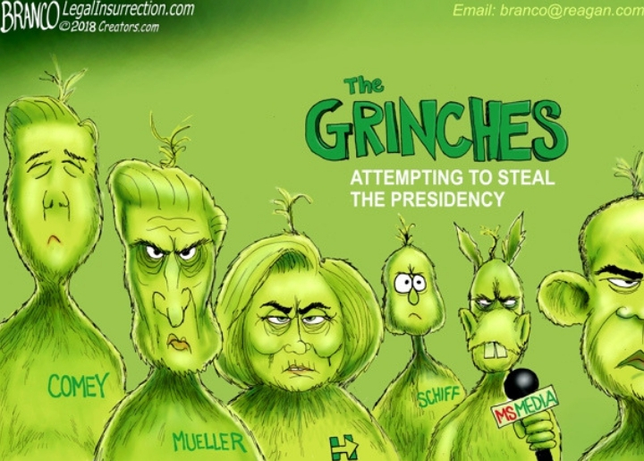 High-profile Democrats such as James Comey, Robert Mueller and Hillary Clinton are seen in green, looking like characters from 'The Grinch'