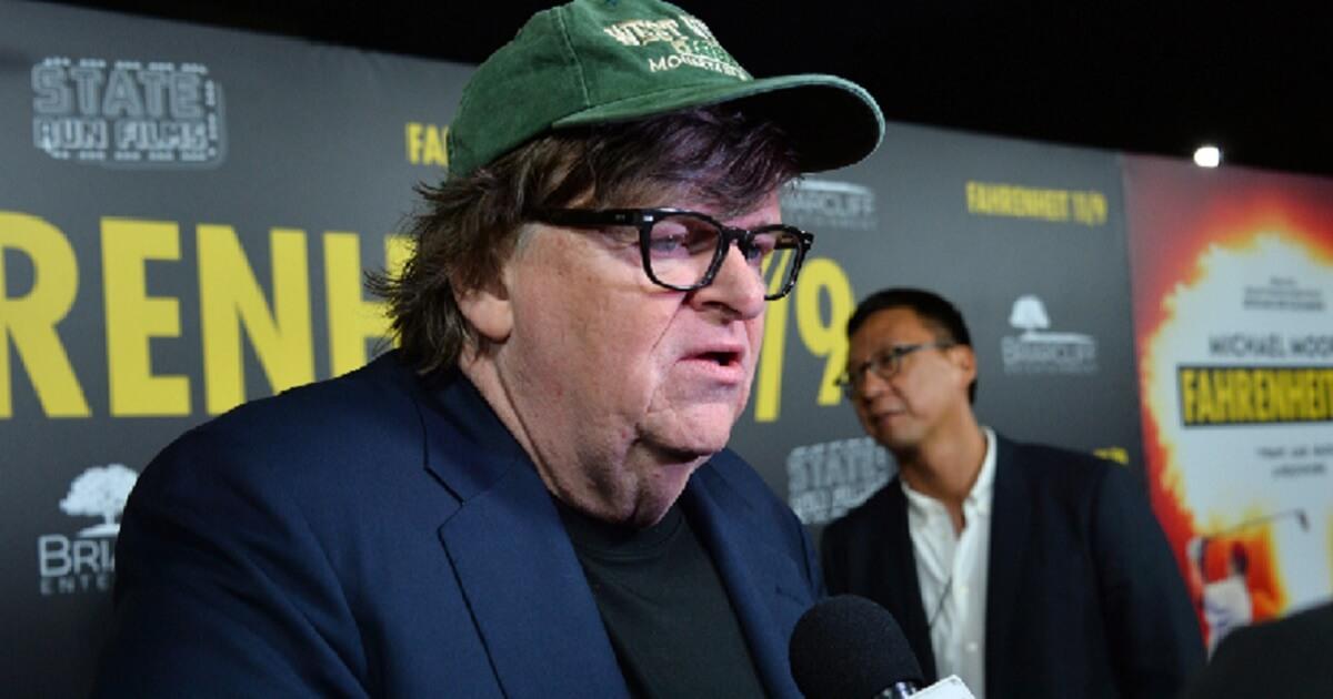 Michael Moore being interviewed.