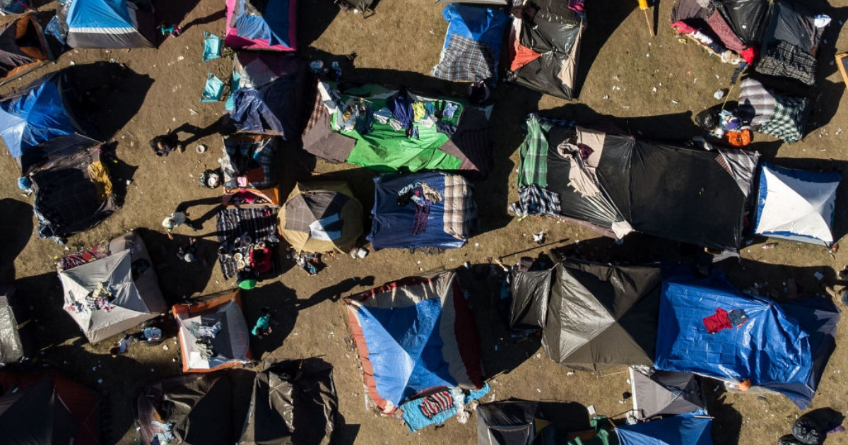 Aerial view of a temporary shelter where Central American migrants have been staying in Tijuana, Mexico.