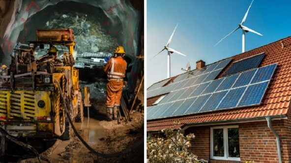 Left, underground mining scene; right, a rooftop with solar panels and turbines.