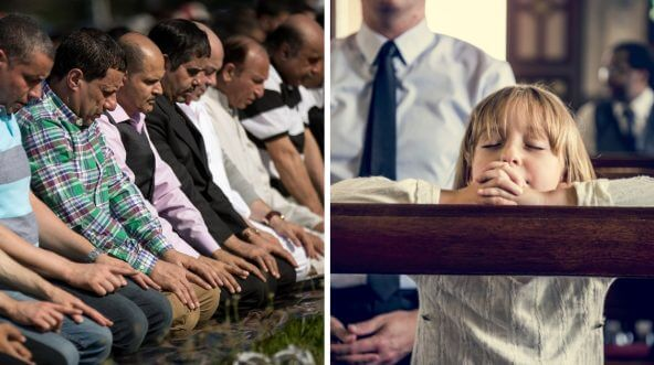 Left: Muslims in New York participate in a group prayer service during Eid al-Fitr. Right: A Christian girl prays in church.