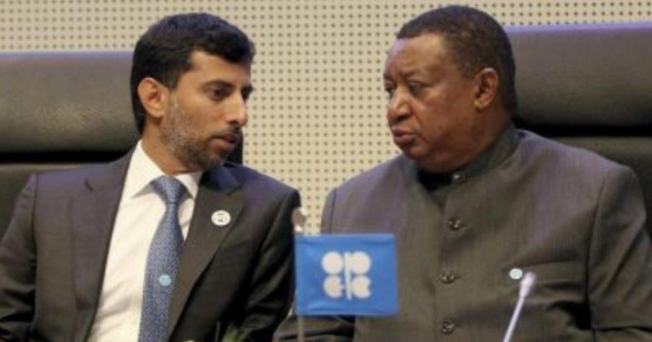 Suhail Mohamed Al Mazrouei, left, minister of energy of the United Arab Emirates, talks with Mohammad Sanusi Barkindo, OPEC Secretary General of Nigeria