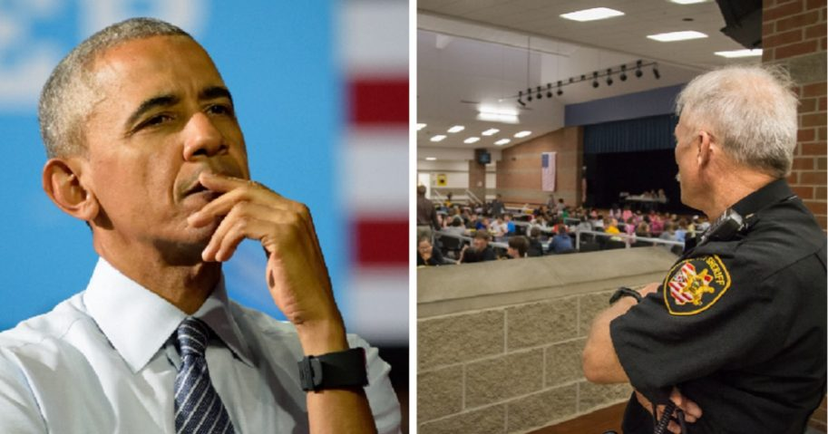 Former President Barack Obama, left; a school security guard watching students, right.