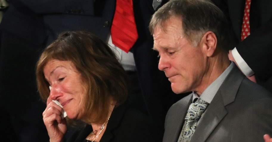 Fred and Cindy Warmbier, the parents of Otto Warmbier, are acknowledged during the State of the Union address Jan. 30.