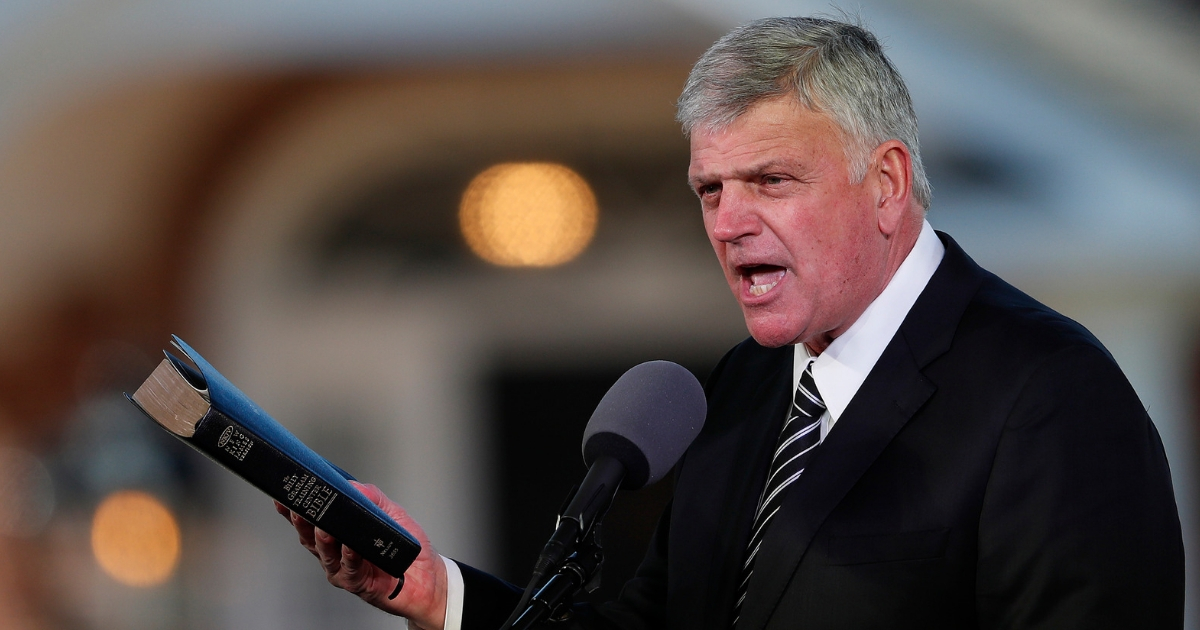 Pastor Franklin Graham speaks during a funeral service at the Billy Graham Library for the Rev. Billy Graham on March 2, 2018, in Charlotte, N.C.