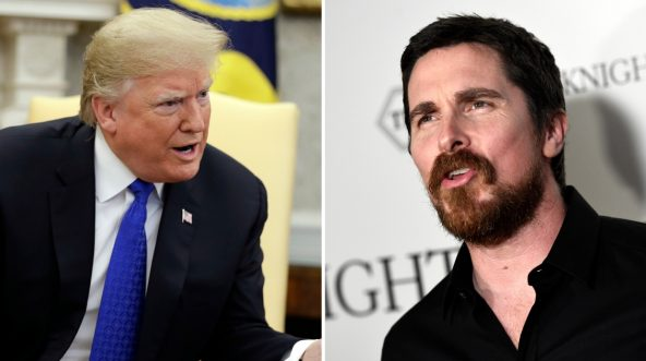 President Donald Trump and actor Christian Bale