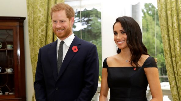 Prince Harry, Duke of Sussex and Meghan, Duchess of Sussex wait to meet New Zealand Prime Minister Jacinda Ardern, at Government House on Oct. 28, 2018, in Wellington, New Zealand.