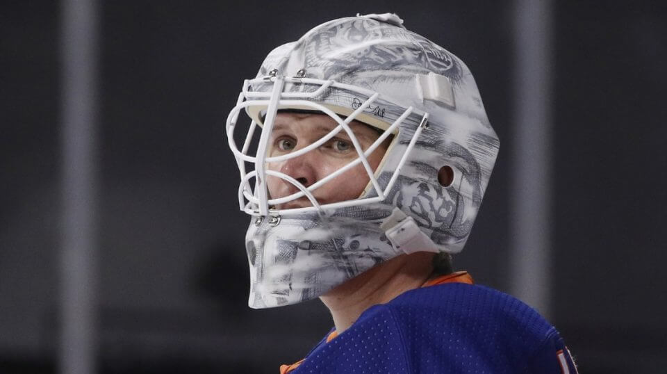 Goalie Robin Lehner of the New York Islanders.