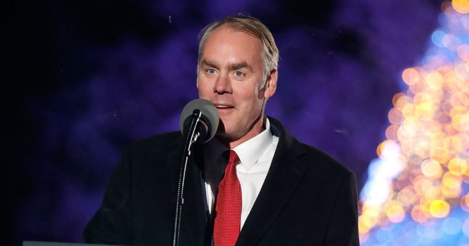 U.S. Secretary of the Interior Ryan Zinke speaks at the 95th Annual National Christmas Tree Lighting Ceremony in President's Park on Nov. 30, 2017.