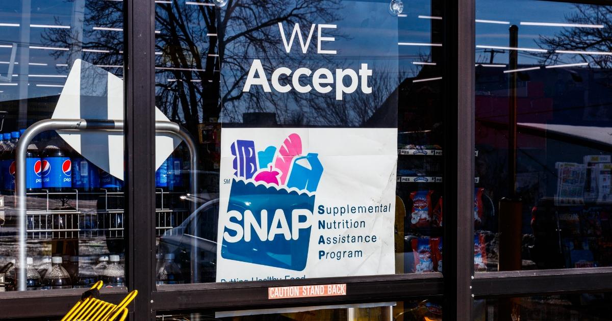 A SNAP benefit program sign.