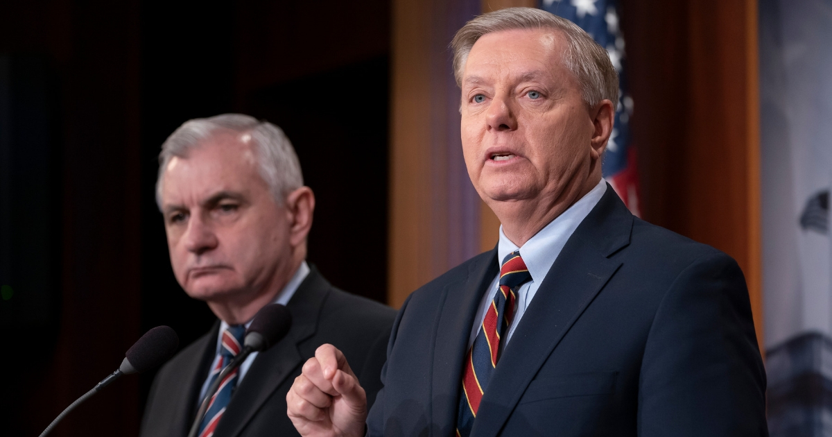 Sen. Jack Reed, D-R.I., and Sen. Lindsey Graham, R-S.C., members of the Senate Armed Services Committee, are disagreeing with President Donald Trump's sudden decision to pull all 2,000 U.S. troops out of Syria, during a news conference at the Capitol in Washington, on Dec. 20, 2018.