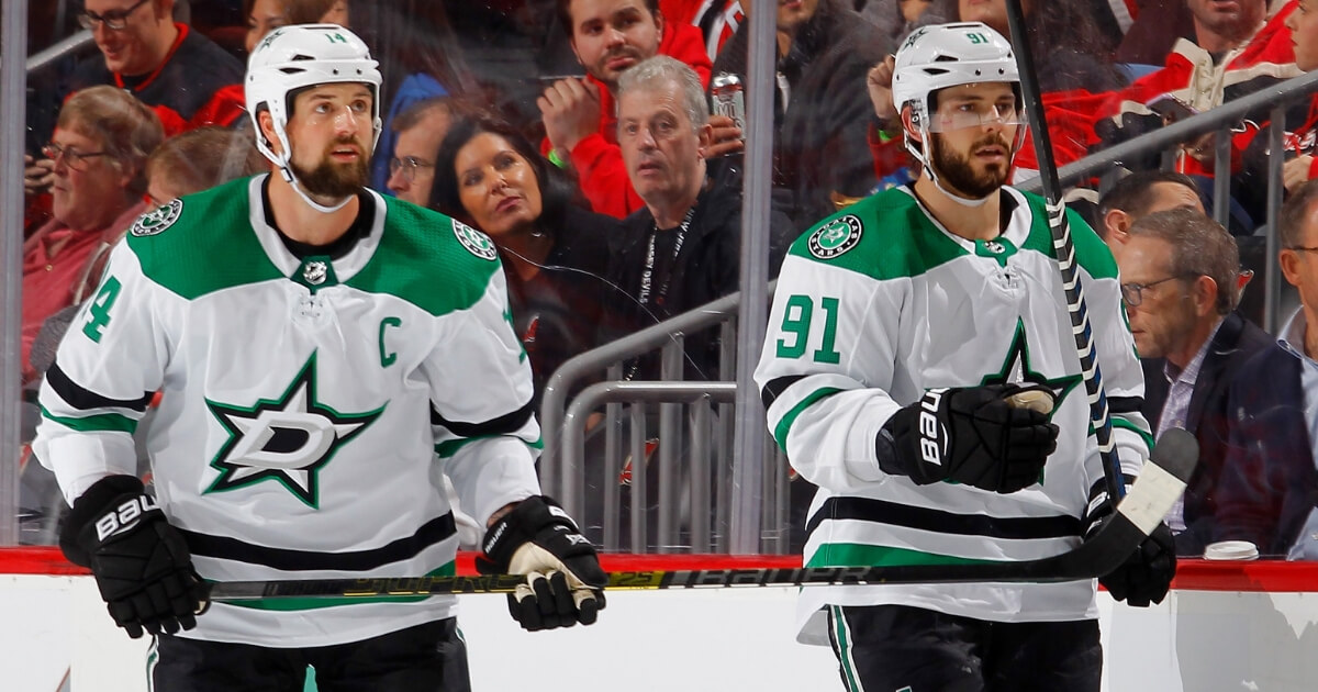 Jamie Benn, left, and Tyler Seguin of the Dallas Stars take the ice against the New Jersey Devils at Prudential Center on Oct. 16.