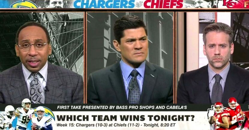 "Stephen A. Smith, left, host of ESPN's ""First Take,"" had some interesting thoughts Thursday that drew a reaction from co-host Max Kellerman, right, and guest analyst Tedy Bruschi."