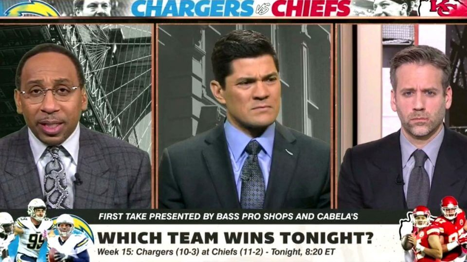 """Stephen A. Smith, left, host of ESPN's """"First Take,"""" had some interesting thoughts Thursday that drew a reaction from co-host Max Kellerman, right, and guest analyst Tedy Bruschi."""