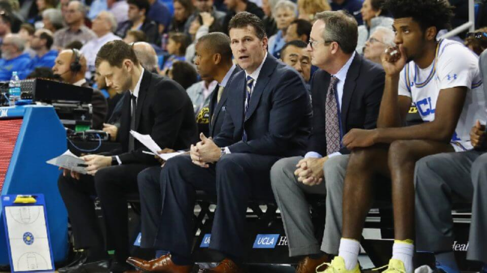 Head coach Steve Alford of the UCLA Bruins reacts during the second half against the Liberty Flames at Pauley Pavilion on Saturday in Los Angeles, California.