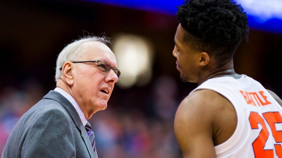 Head coach Jim Boeheim of the Syracuse Orange speaks with Tyus Battle during the first half against the Buffalo Bulls at the Carrier Dome on Tuesday.