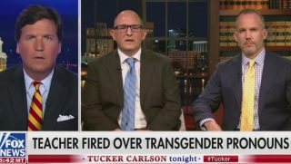 "Teacher Peter Vlaming, center, who was fired for refusing to use a transgender student's chosen pronouns, speaks on Fox News' ""Tucker Carlson Tonight."""